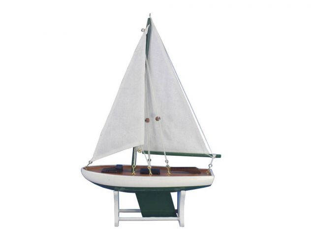 Wooden It Floats 12 - Green Floating Sailboat Model