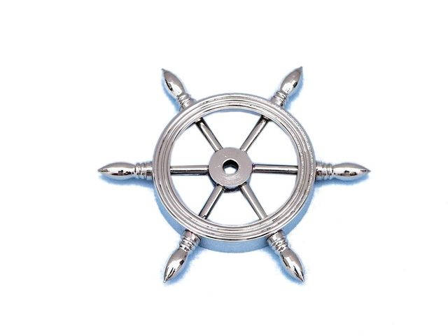 Chrome Ship Wheel Paperweight 4