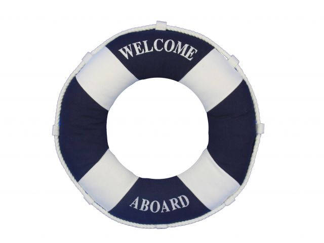 Blue Welcome Aboard Decorative Life Ring Pillow 14