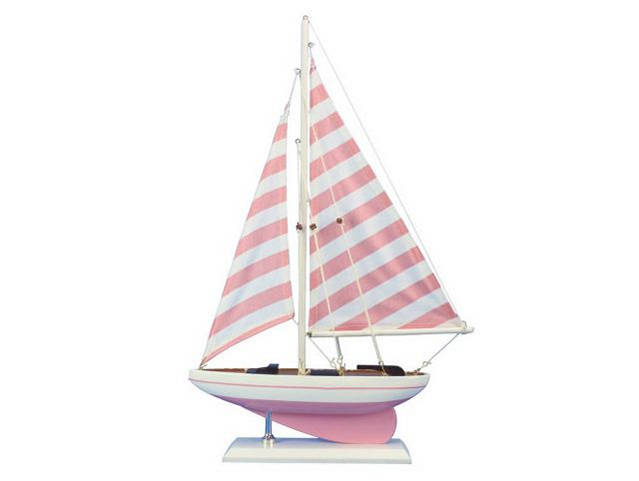 Wooden Pretty in Pink Model Sailboat 17