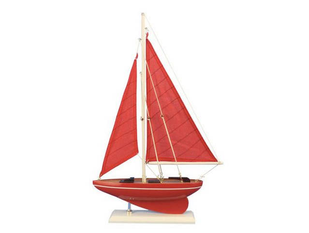Wooden Red Sea Model Sailboat 17