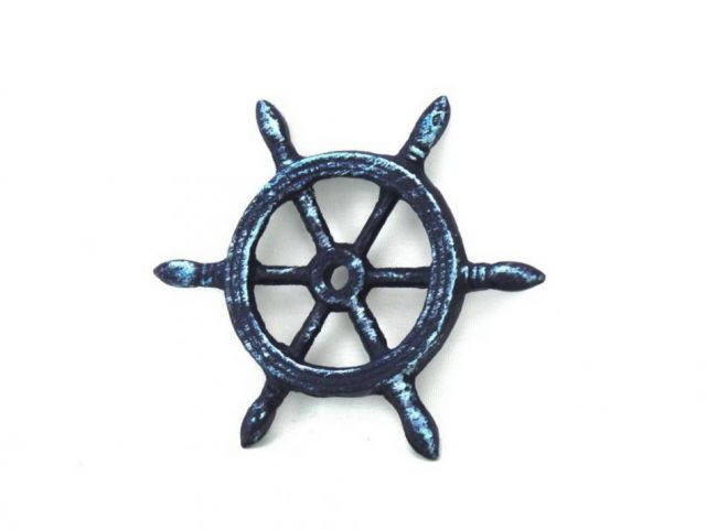 Rustic Dark Blue Cast Iron Ship Wheel Decorative Christmas Ornament 4
