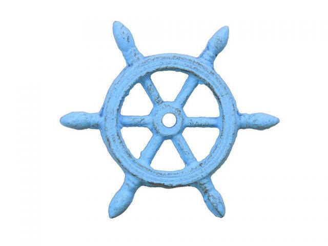 Rustic Light Blue Cast Iron Ship Wheel Decorative Paperweight 4