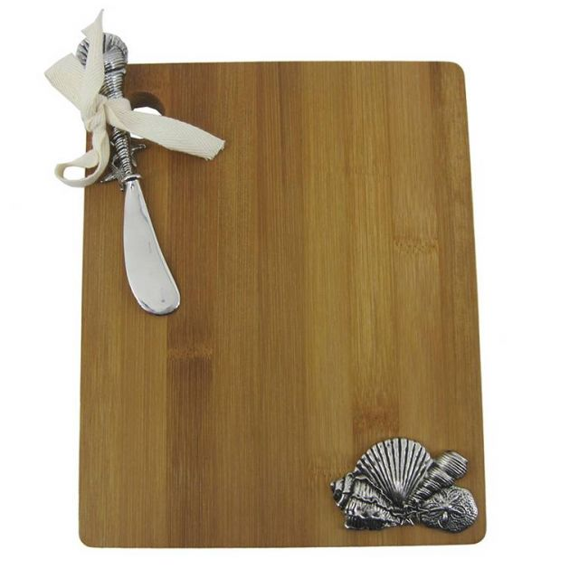 Bamboo Cutting Board with Sea Shells and Spreader 9