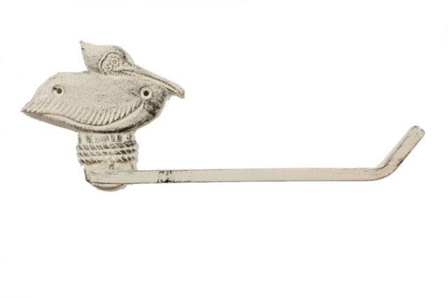 Whitewashed Cast Iron Pelican on Post Toilet Paper Holder 11