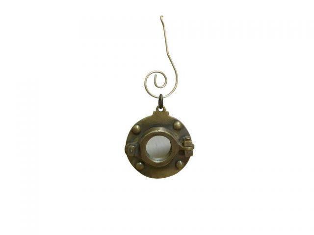 Antique Brass Porthole Mirror Christmas Ornament 4
