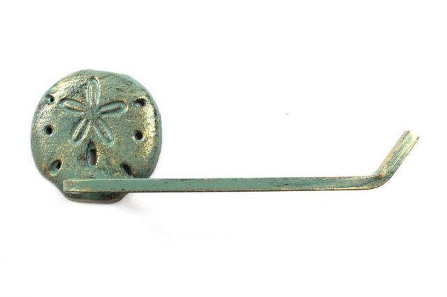 Antique Seaworn Bronze Cast Iron Sand Dollar Toilet Paper Holder 10