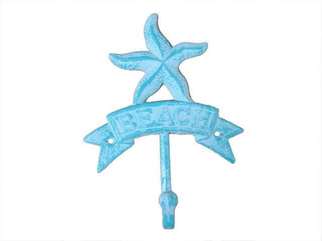 Rustic Light Blue Whitewashed Cast Iron Starfish Beach Hook 8