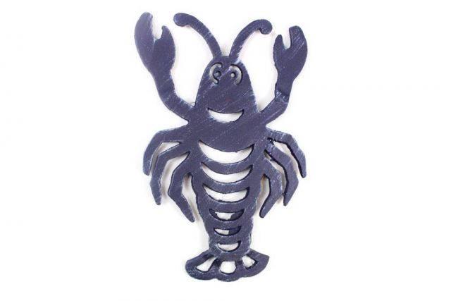 Rustic Dark Blue Cast Iron Lobster Trivet 11