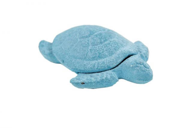 Rustic Light Blue Whitewashed Cast Iron Decorative Turtle Paperweight 4