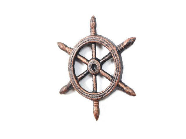 Rustic Copper Cast Iron Ship Wheel Decorative Paperweight 4