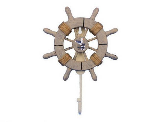 Rustic Decorative Ship Wheel With Seagull and Hook 8