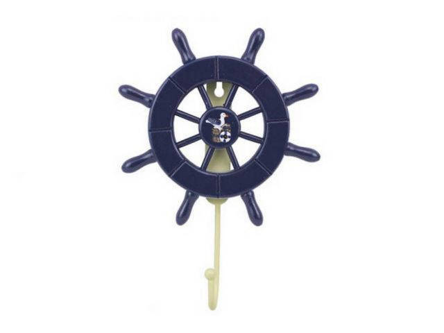 Dark Blue Decorative Ship Wheel with Seagull and Hook 8
