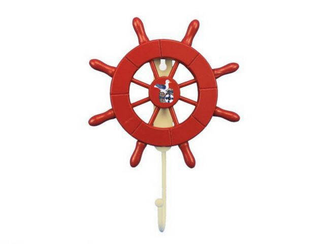 Red Decorative Ship Wheel with Seagull and Hook 8