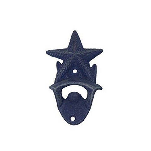 Rustic Dark Blue Whitewashed Cast Iron Wall Mounted Starfish Bottle Opener 6