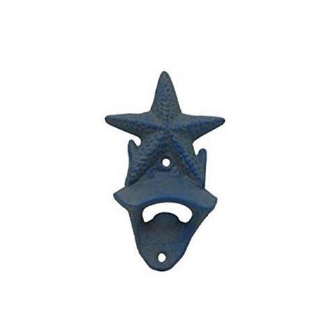 Rustic Light Blue Whitewashed Cast Iron Wall Mounted Starfish Bottle Opener 6