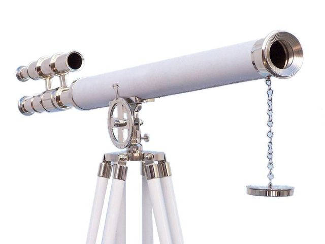 Hampton Collection Chrome with White Leather Griffith Astro Telescope 64
