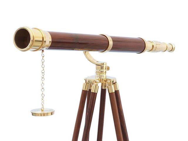 Floor Standing Brass-Wood Galileo Telescope 65