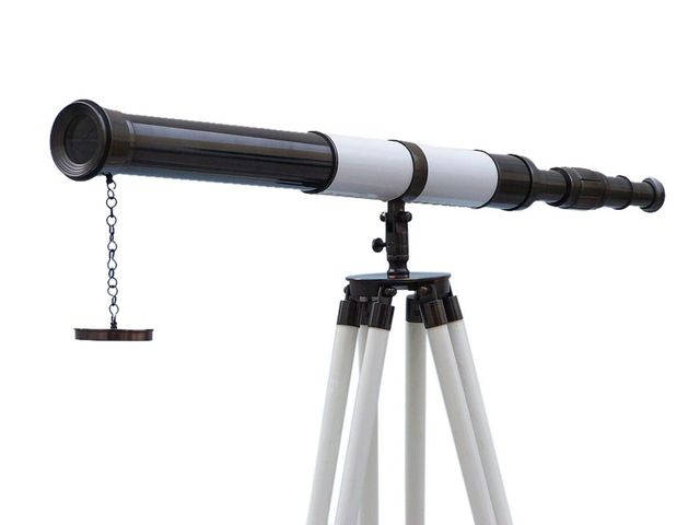 Admirals Floor Standing Oil Rubbed Bronze with White Leather Telescope 60