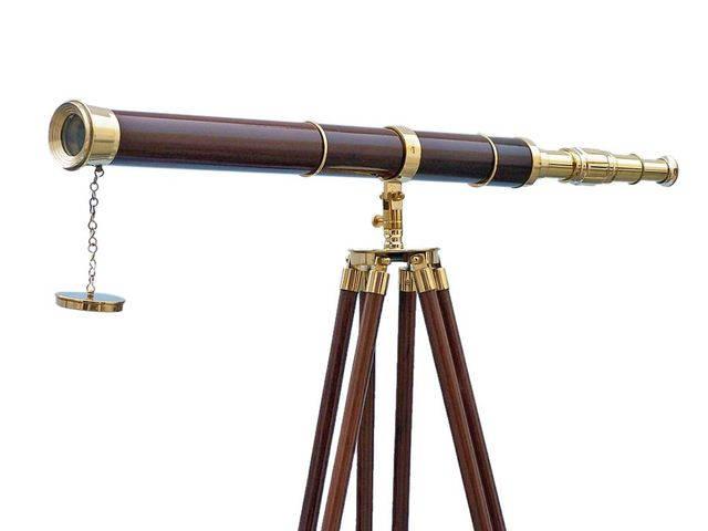 Admirals Floor Standing Brass with Wood Telescope 60
