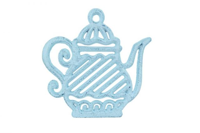 Rustic Dark Blue Whitewashed Cast Iron Teapot Trivet 9