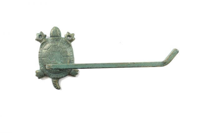 Antique Seaworn Bronze Cast Iron Decorative Turtle Toilet Paper Holder 10