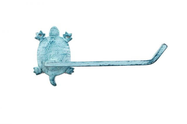 Rustic Dark Blue Whitewashed Cast Iron Decorative Turtle Toilet Paper Holder 10