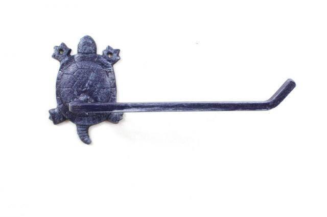 Rustic Dark Blue Cast Iron Decorative Turtle Toilet Paper Holder 10