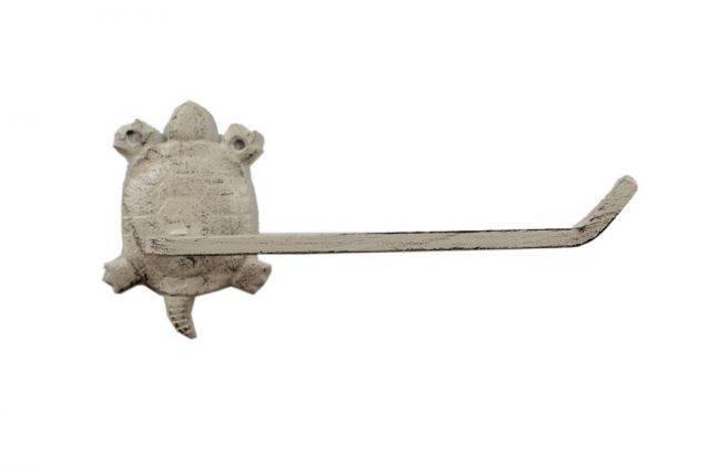 Whitewashed Cast Iron Decorative Turtle Toilet Paper Holder 10