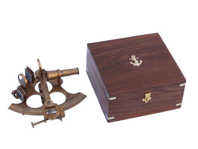 Captains Antique Brass Sextant 8 with Rosewood Box