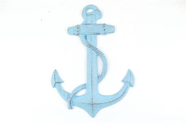 Rustic Light Blue Cast Iron Anchor 17