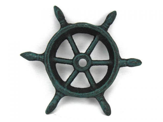 Seaworn Blue Cast Iron Ship Wheel Decorative Paperweight 4