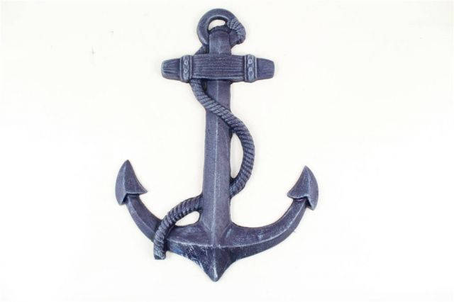 Rustic Dark Blue Cast Iron Anchor 17