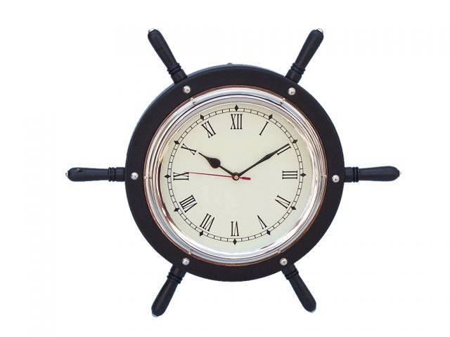 Black Wood And Chrome Ship Wheel Clock 15
