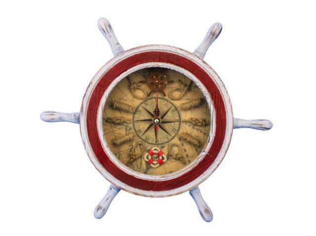 Wooden Rustic White and Red Ship Wheel Knot Faced Clock 12