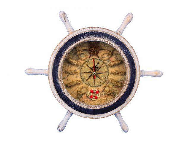 Wooden Rustic White Ship Wheel with Dark Blue Knot Faced Clock 12