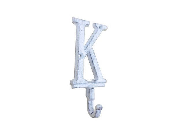 Whitewashed Cast Iron Letter K Alphabet Wall Hook 6
