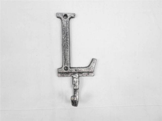 Rustic Silver Cast Iron Letter L Alphabet Wall Hook 6