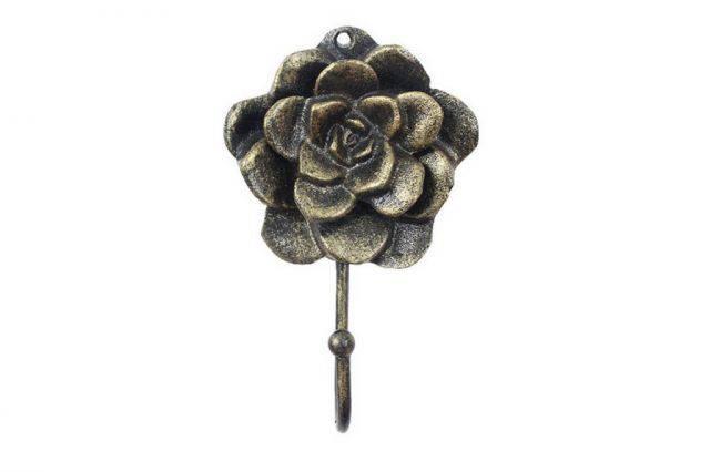 Rustic Gold Cast Iron Decorative Rose Hook 7