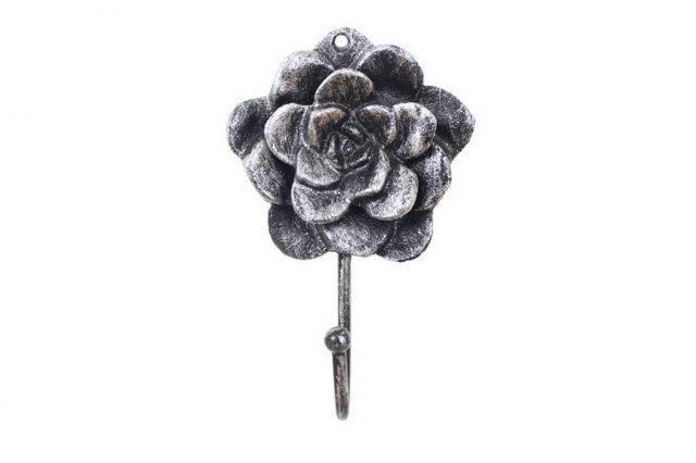Rustic Silver Cast Iron Decorative Rose Hook 7