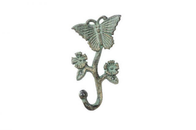 Antique Seaworn Bronze Cast Iron Butterfly With Flowers Hook 5
