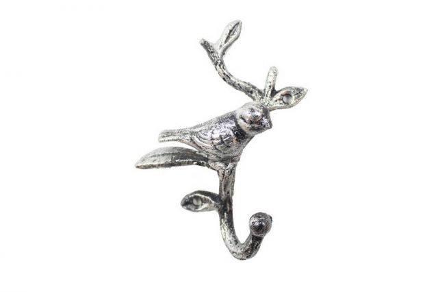 Rustic Silver Cast Iron Decorative Bird Hook 6