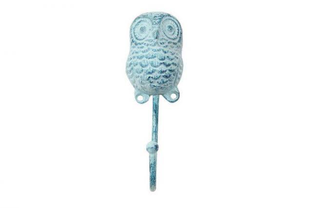 Rustic Dark Blue Whitewashed Cast Iron Decorative Owl Hook 6
