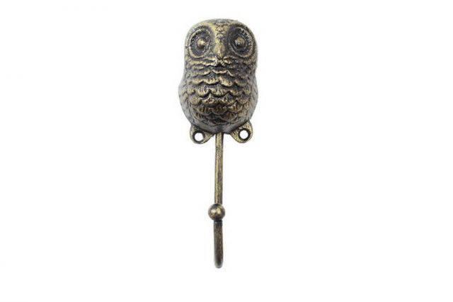 Rustic Gold Cast Iron Decorative Owl Hook 6