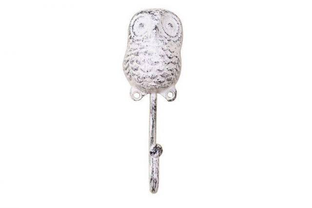 Whitewashed Cast Iron Decorative Owl Hook 6