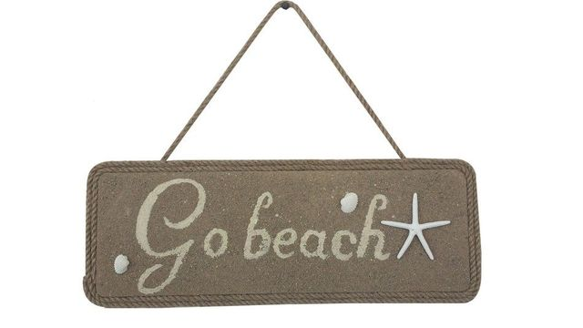 Wooden Go Beach Shell and Starfish Sign 16