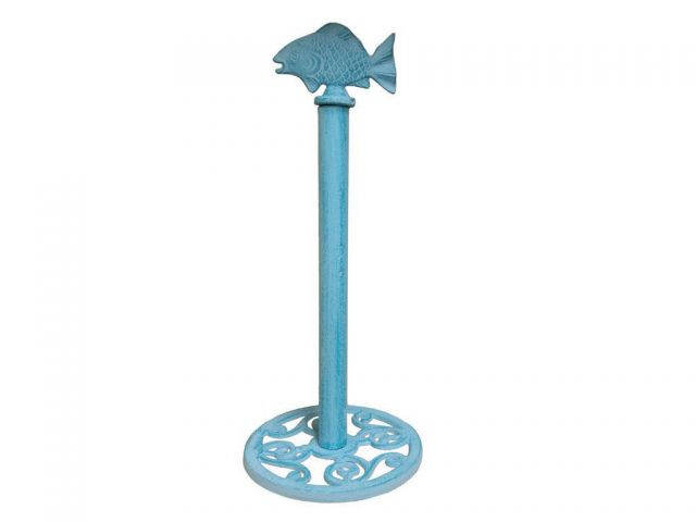 Rustic Light Blue Whitewashed Cast Iron Fish Extra Toilet Paper Stand 15