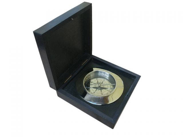 Chrome Admirals Desk Compass w- Black Rosewood Box 5