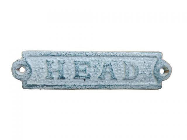 Rustic Dark Blue Whitewashed Cast Iron Head Sign 6