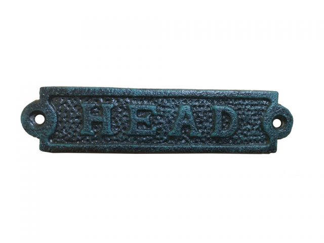 Seaworn Blue Cast Iron Head Sign 6